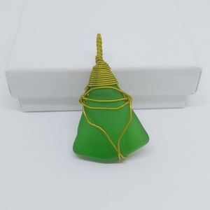 Thick beach glass pendant